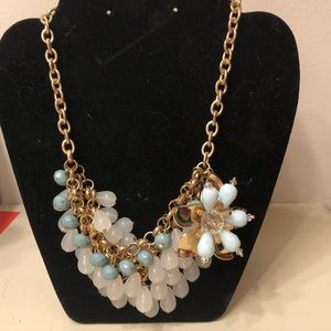 Light Blue with Gold Statement Necklace